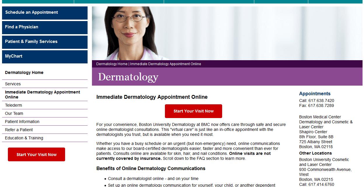 Boston Medical Goes Online with Digital Dermatology Visits